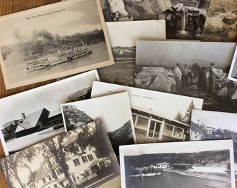 a slew of old black and white and sepia postcards ~ a deltiologist's delight !