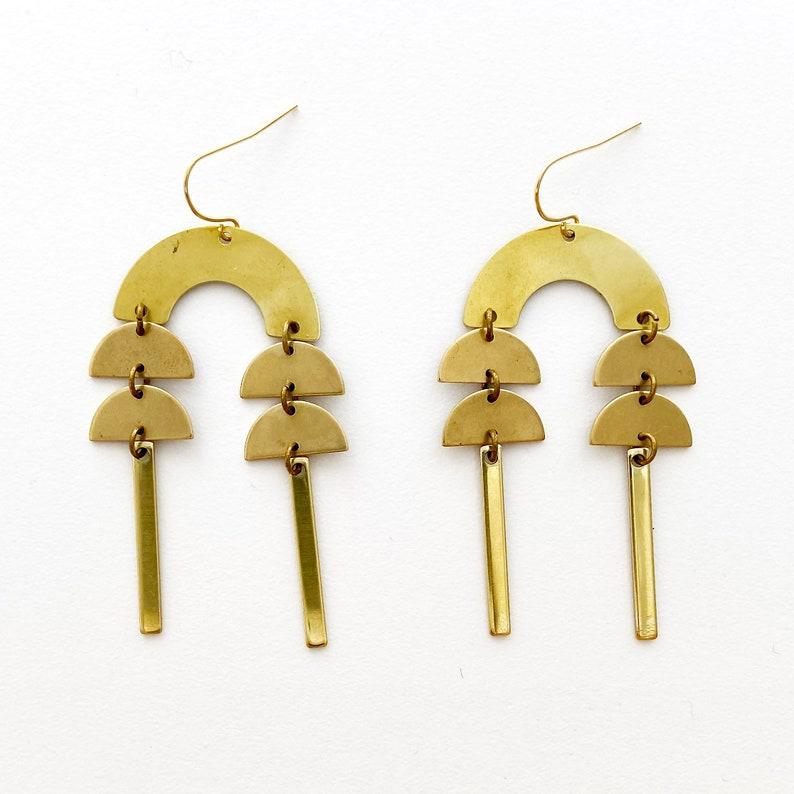 Geometric Earrings Big Gold Brass Earrings Boho Dangle Earrings Modern Dangle Earrings Gold Brass Dangle Earrings Chandelier Earrings