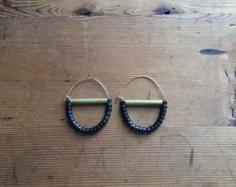 Brass Crescent Earrings with Black Stones