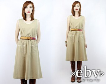 bd1542d67f4 Vintage 70s Khaki Sleeveless Day Dress S M Secretary Dress Work Dress Khaki  Dress Beige Dress Knee Length Dress