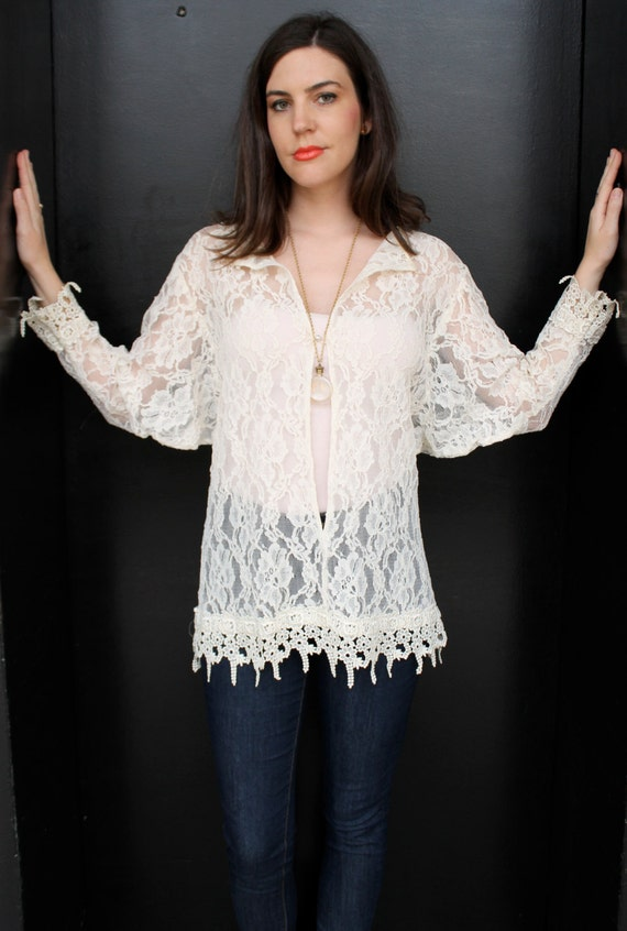 Vintage 80s Sheer Lace Batwing Blouse Top S M Lac… - image 3