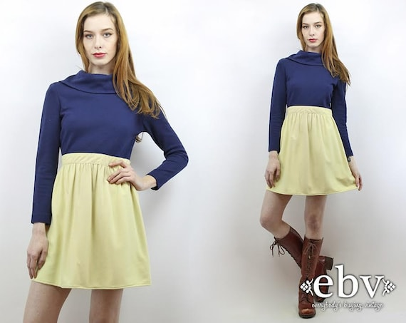 Vintage 70s Navy + Beige Mini Dress XS S Babydoll… - image 1