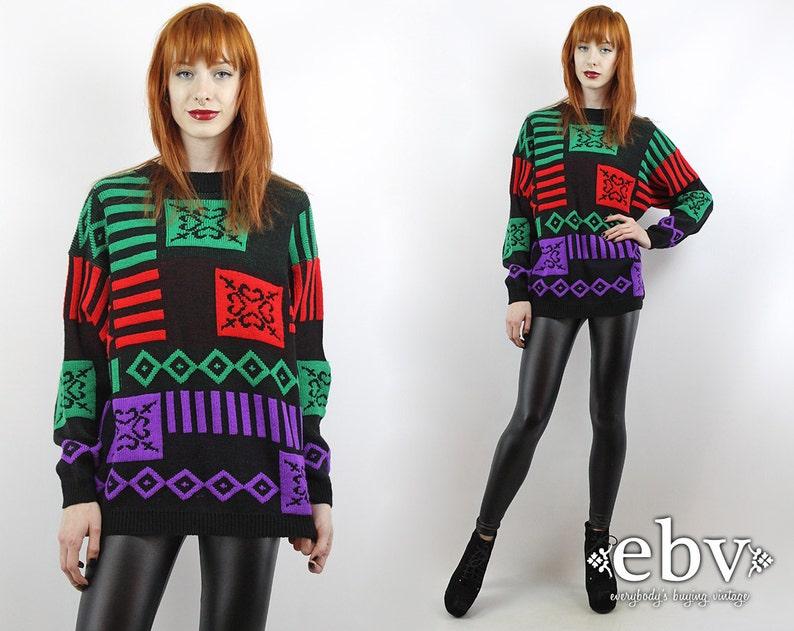 d70a36e05d30 Vintage 90s Graphic Oversized Sweater S M L Oversized Jumper