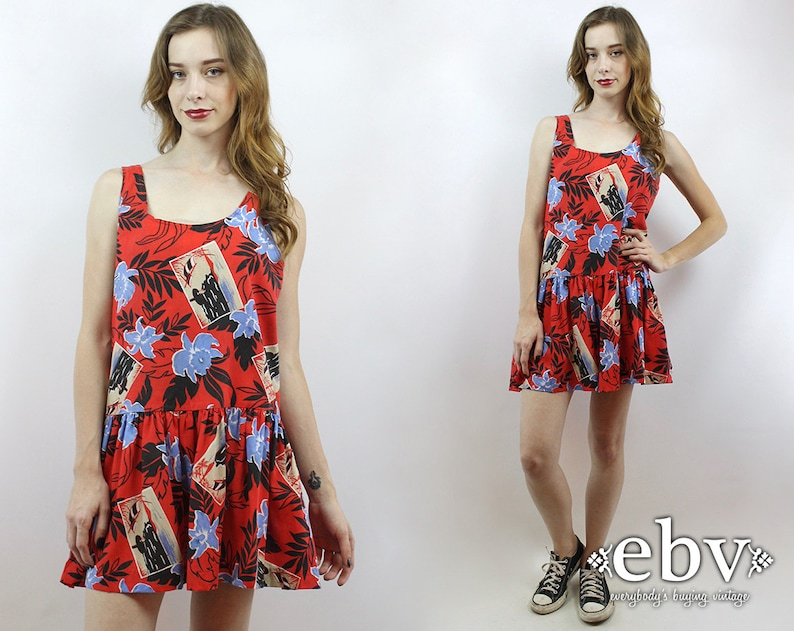 b189406624e Vintage 80s Hawaiian Floral Party Dress M Floral Party Dress