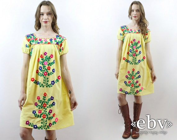 Yellow Mexican Dress Embroidered Dress Festival Dr