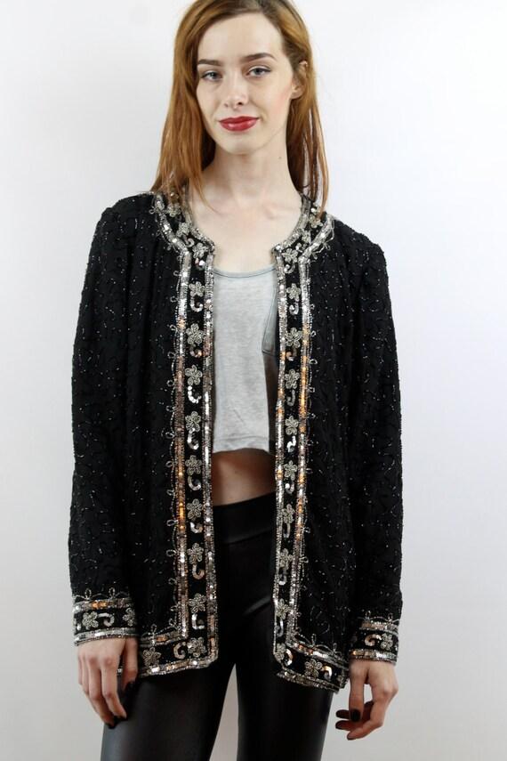 Sequin Cardigan Sequin Top Party Top Silk Cardiga… - image 3