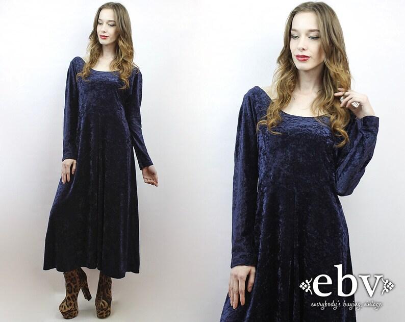d63aad3e7f6 90s Grunge Dress Navy Velvet Maxi Dress Crushed Velvet Dress