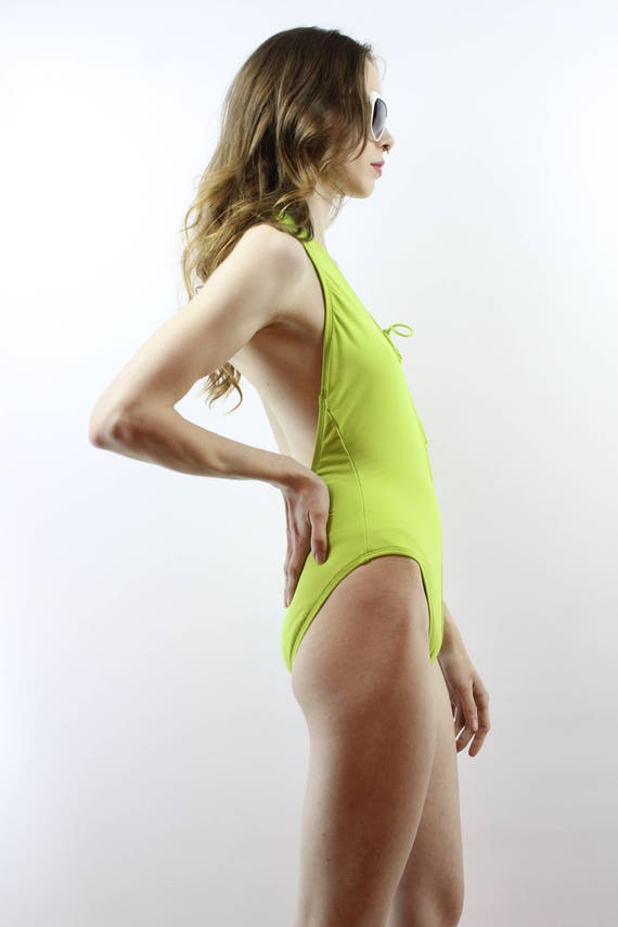 Day Glo Swimsuit Lace Up Swimsuit Lime Green Swim… - image 4