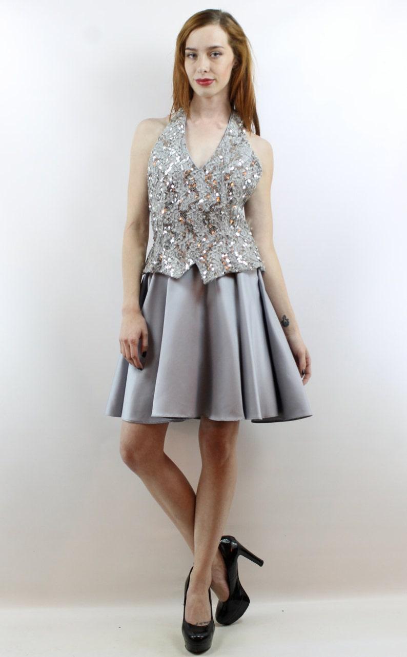 1e71cf35c92bd9 Vintage 80s srebrny cekin Halter Party Dress S srebrny cekin | Etsy