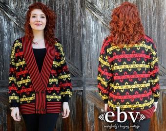 Vintage Cardigan Vintage Jumper Vintage Sweater Oversized Cardigan Oversized Knit Vintage 80s Heart Sweater Oversized Knit S M L