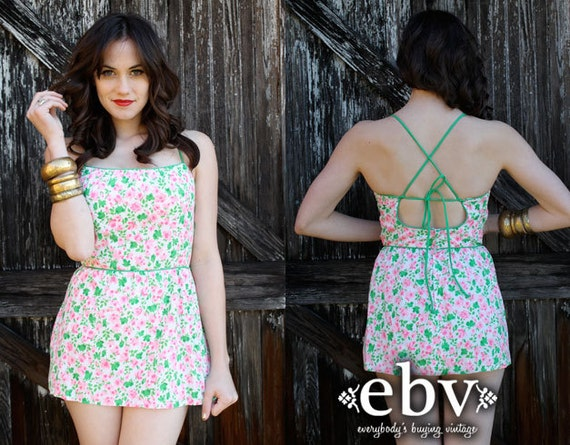 Vintage 50s 60s Floral Pin Up One Piece Swimsuit S