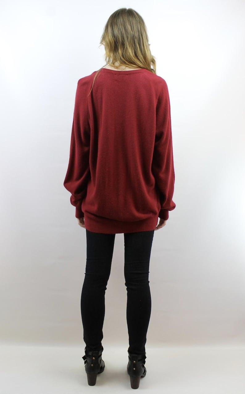 Oversized Knit Oversized Jumper Oversized Sweater Crimson Sweater Normcore Sweater V Neck Sweater 70s Sweater Men/'s Sweater L XL