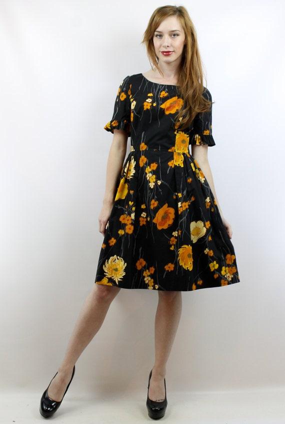 Vintage 50s Black Floral Party Dress S 50s Cockta… - image 2