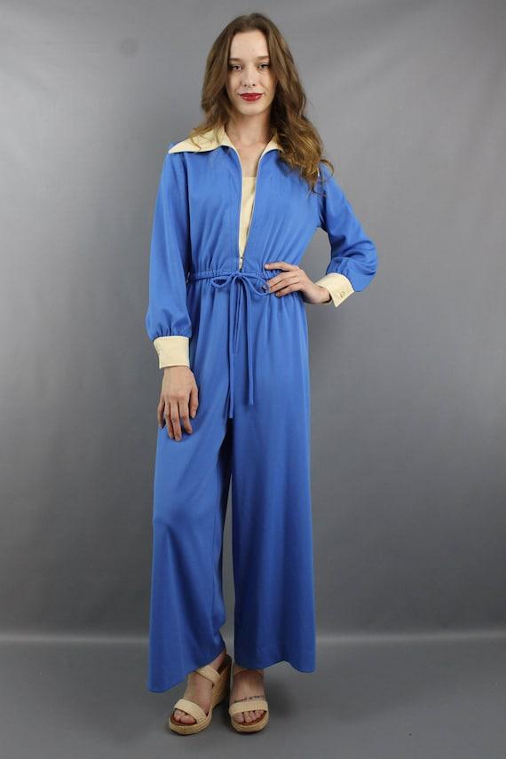 1970s Jumpsuit 70s Jumpsuit Hippie Jumpsuit Blue … - image 2
