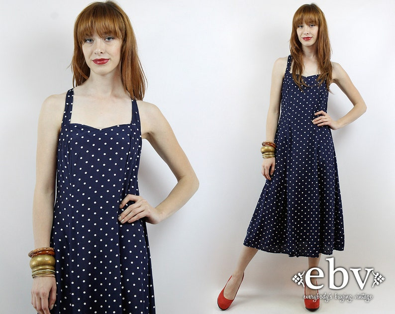 57bfe60bdfe425 Vintage 80s Navy Polka Dot Midi Dress XS S Summer Dress Polka | Etsy