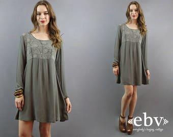90s Babydoll Dress Grey Dress Gray Dress Embroidered Dress Longsleeve Dress Fall Dress Hippie Dress Hippy Dress Boho Dress Bohemian Dress S