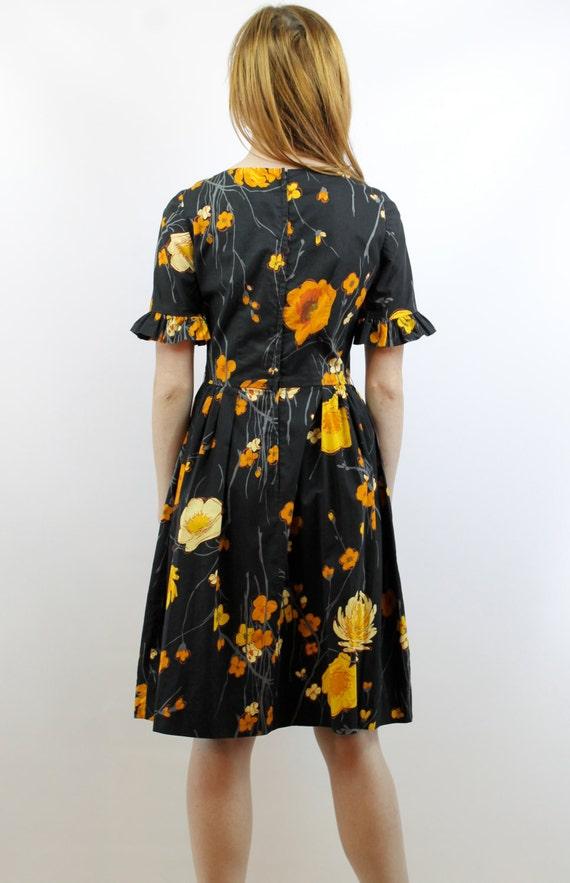 Vintage 50s Black Floral Party Dress S 50s Cockta… - image 5