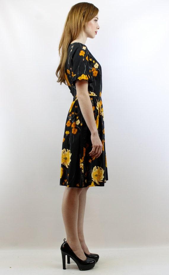 Vintage 50s Black Floral Party Dress S 50s Cockta… - image 4