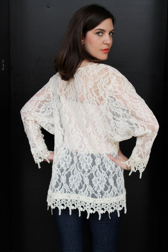 Vintage 80s Sheer Lace Batwing Blouse Top S M Lac… - image 5