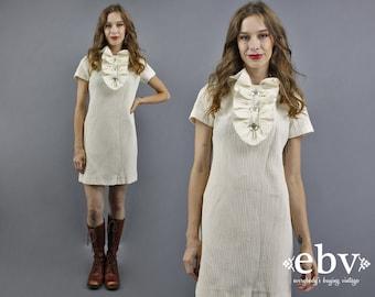 Tuxedo Dress White Party Dress 60s Mini Dress 1960s Dress 60s Dress White Dress Tuxedo Mini Dress Ruffle Dress 1960s Mini Dress Large M L
