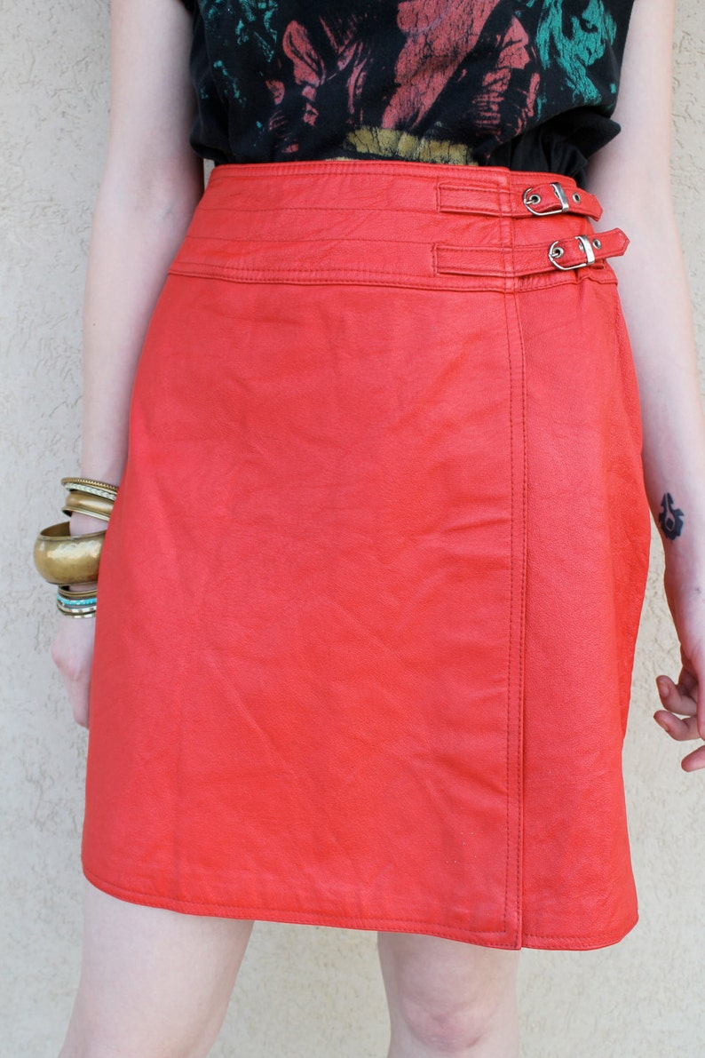 a9412b89ee Vintage Leather Skirt Leather MIni Skirt Red Leather Skirt | Etsy
