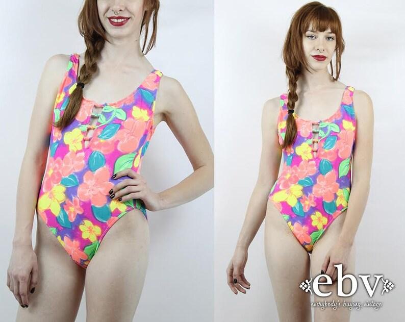 Vintage 80s swimsuit floral pattern bathing suit one piece