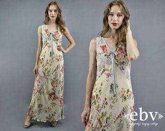 Vintage 90s Floral Maxi Dress M L Patchwork Dress Spring Boho Wedding Dress Indian Dress 90s Maxi Dress Feminine Floral Dress 1990s Dress