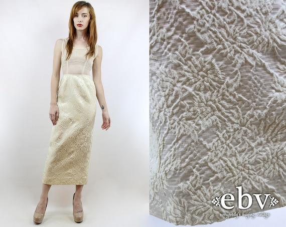 Vintage 50s 60s Cream Sheer Wedding Dress XS 50s C