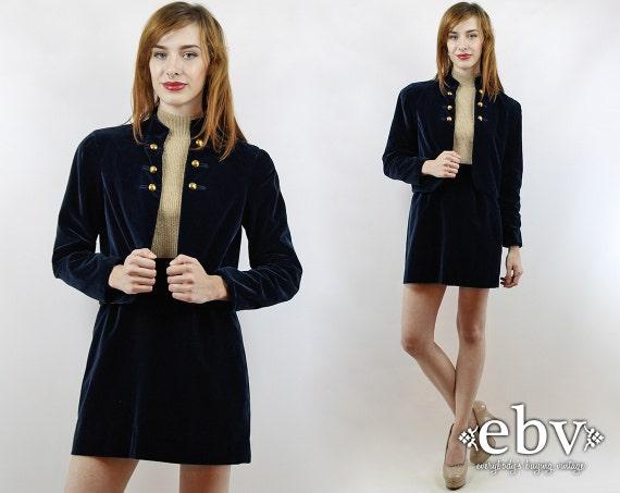 Vintage 60s Blue Velvet Cropped Military Jacket +