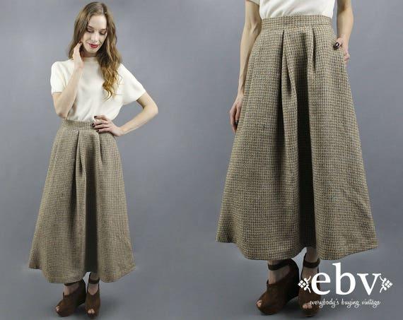 Wool Maxi Skirt Wool Skirt Oatmeal Maxi Skirt Twee