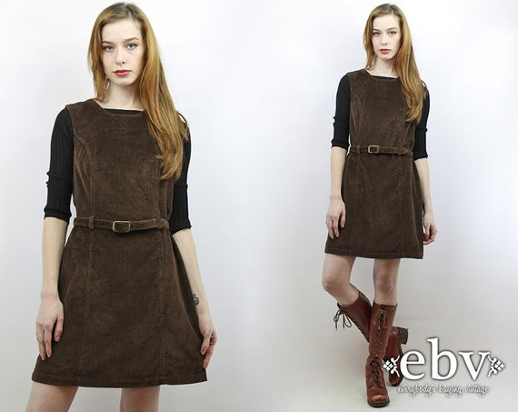 Vintage 90s Brown Cord Fitted Mini Dress S M Cord