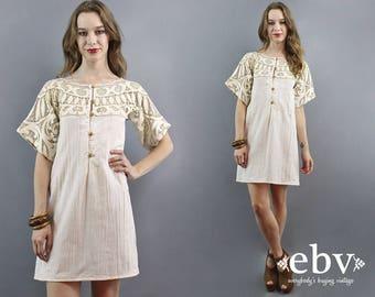 Cream Lace Dress Lace Mini Dress 1970s Dress 70s Dress Bell Sleeve Dress Hippie Wedding Dress Hippie Dress Hippy Dress 1960s Dress XS S