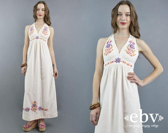 Embroidered Dress Halter Dress Hippie Wedding Dres