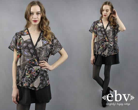 Plus Size Dress Plus Size Tunic Secretary Dress Sheer Blouse 80s Blouse  1980s Blouse Mini Dress Long Top 2X 3X