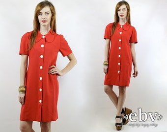 Vintage 80s Red Dolly Dress XS S Red Dress 80s Dress Puff Sleeve Dress 80s Mini Dress