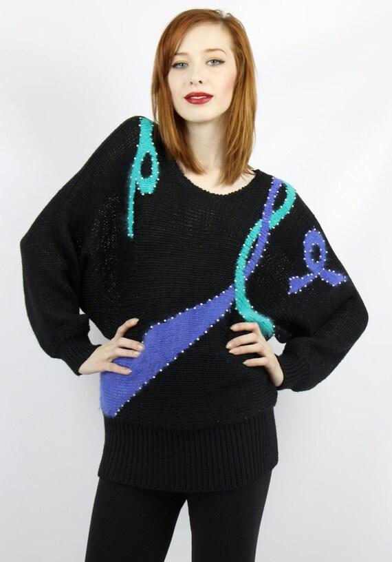 80er Jahre Pullover 80er Jahre Pullover 80er Jahre Pullover schwarz Pullover Batwing Jumper 1980er Jahre Pullover schwarz Pullover Vintage 80er Jahre