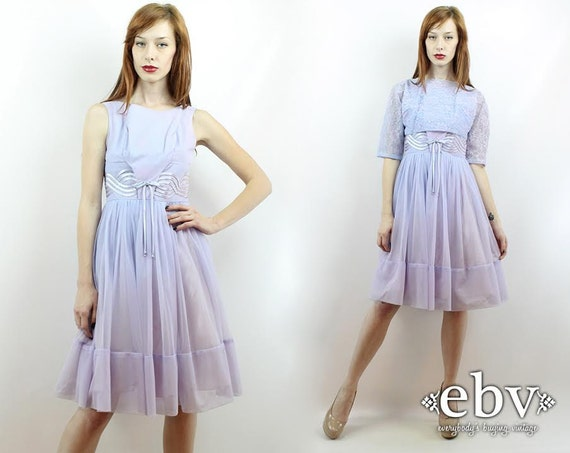 Vintage 50s Lavender Lace Party Dress XS S Prom Dr