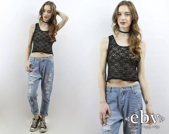 Black Lace Top 90s Grunge Top 90s Crop Top Lace Cr