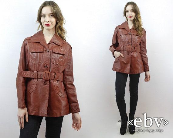 70s Leather Coat Belted Leather Coat 70s Coat 1970