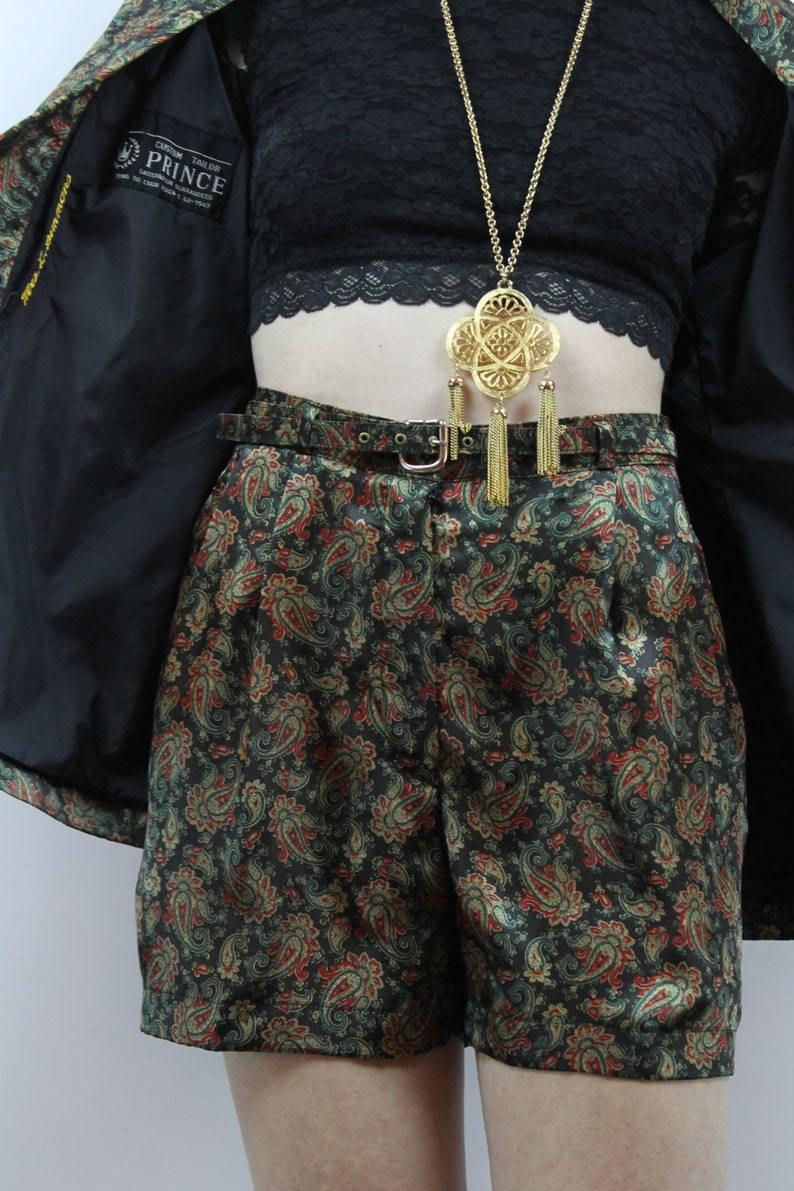 Vintage 80s Custom Black Paisley Blazer Shorts Outfit L Shorts Suit Two Piece Set Two Piece Outfit Matching Set High Waisted Shorts