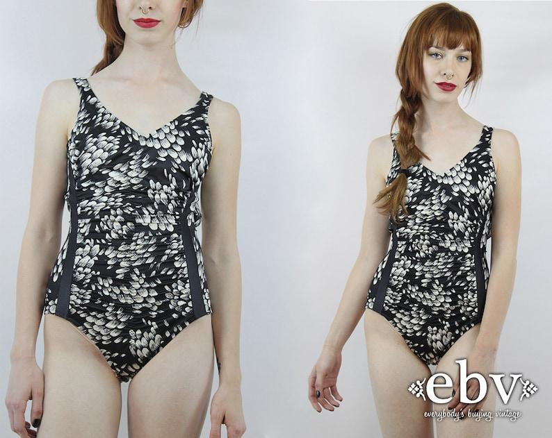 68da23e3653a1d Rocznik czarny jeden kawałek kwiatowy kostium kąpielowy czarny | Etsy