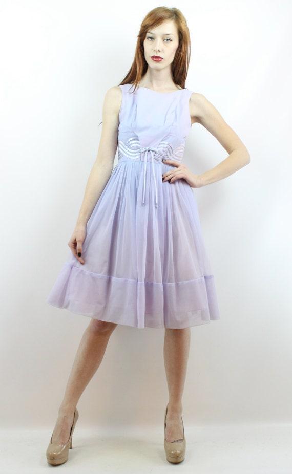 Vintage 50s Lavender Lace Party Dress XS S Prom D… - image 2