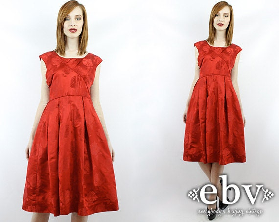 Vintage 50s Red Party Dress S M Red Mini Dress Coc