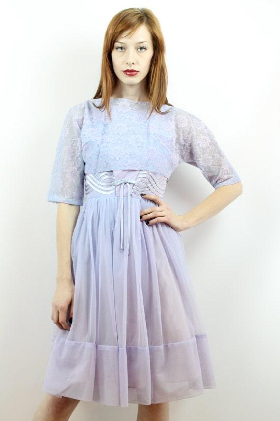 Vintage 50s Lavender Lace Party Dress XS S Prom D… - image 3