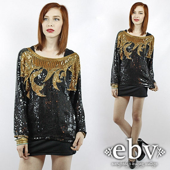 Longsleeve Sequin Top Vintage Black Beaded Sequin