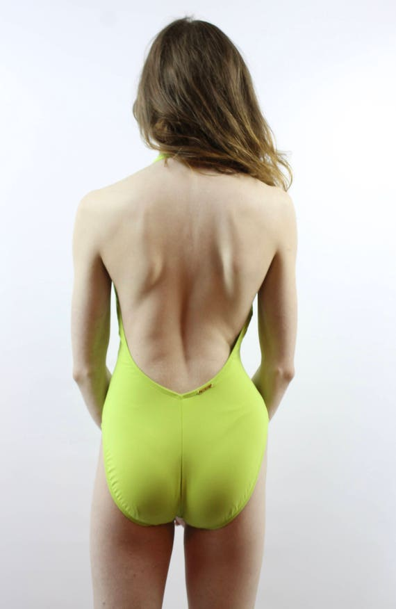 Day Glo Swimsuit Lace Up Swimsuit Lime Green Swim… - image 5