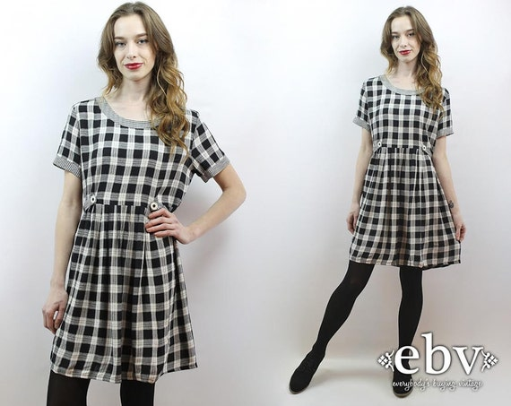 30b25d988a8 90s Babydoll Dress 90s Grunge Dress 90s Plaid Dress Plaid