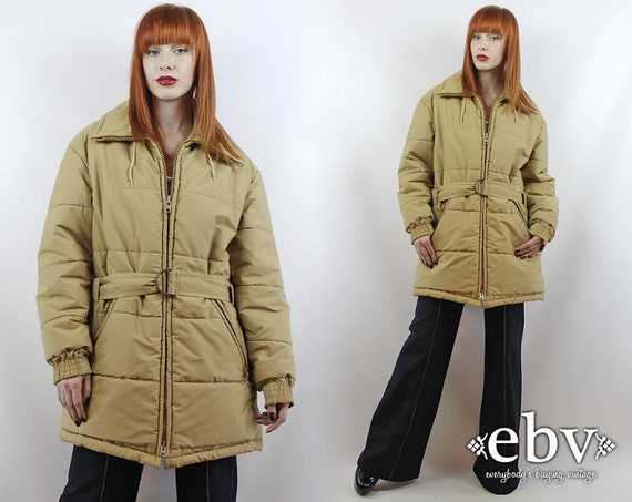 Vintage 80s Beige Poofy Coat L XL Poofy Jacket 80s