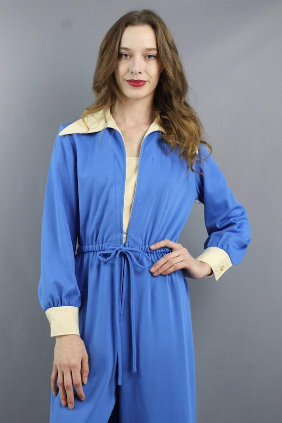 1970s Jumpsuit 70s Jumpsuit Hippie Jumpsuit Blue … - image 4
