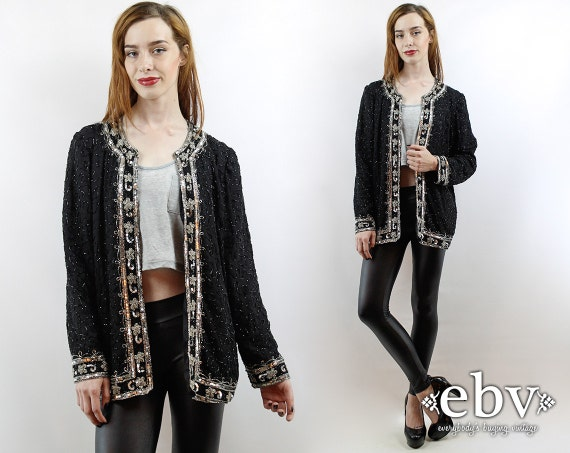 Sequin Cardigan Sequin Top Party Top Silk Cardigan